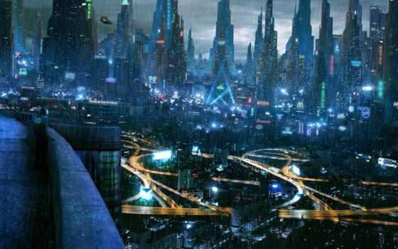 киберпанк, город, wallpaper, будущее, стиле, city, style, cyberpunk, download, огни,