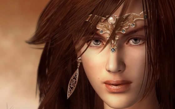 девушка, глазами, волосами