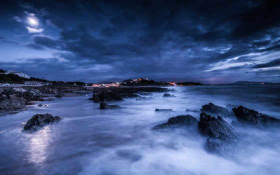 ночь, море, луна Фон № 55216 разрешение 1920x1093