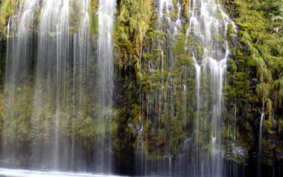 водопады, бекграунд, векторные, больших, video, водопад,