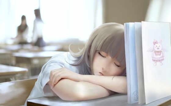 девушка, anime, книга