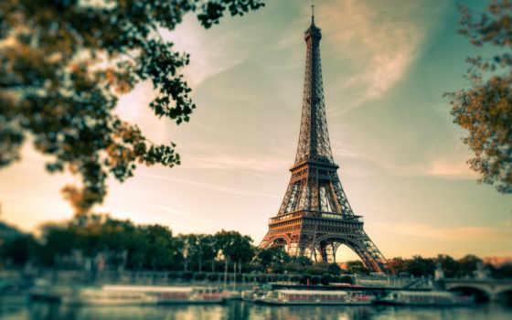 ,эйфелева, башня,рассвет, париж,