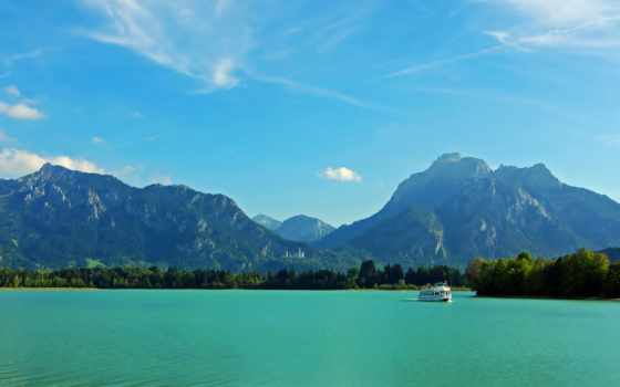 германия, mountains, бавария, природа, scenery, rivers, небо, река, landscape, картинка,