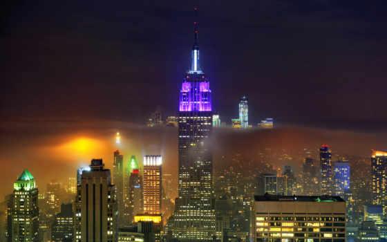 new, york, нью, билдинг, стейт, эмпайр, город, ночью, card,