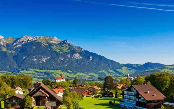 альпы, рона, swiss, горы, природа, картинку, деревня, небо, компьютер,