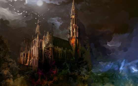 fantasy, картинка, castle, замки, лесу, art,