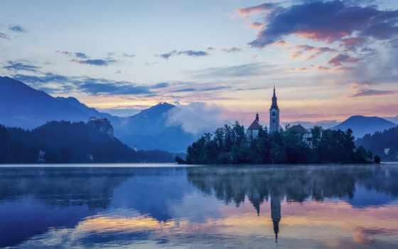 озеро, bled, slovenia, пейзажи -, бледское, church,
