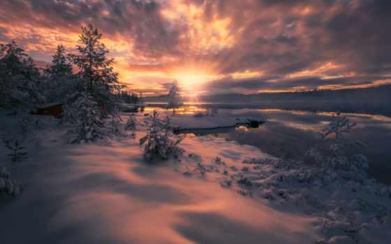 норвегия, winter, облако, озеро, ringerike, снег, закат, ray