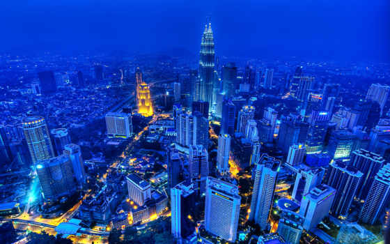 kuala, lumpur, malaysia, ночь, город, города,