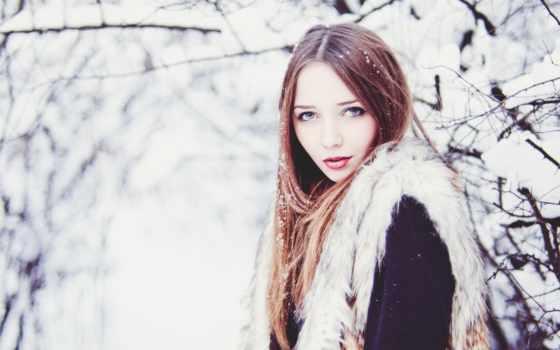 девушки, снег, зимой