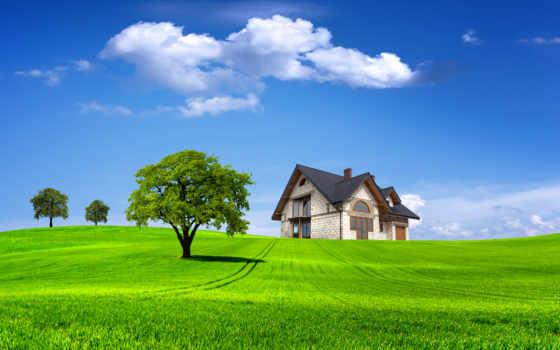 house, поле, природа, дерево, landscape, summer, lodge, небо, trees, oblaka,