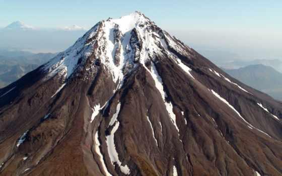 вулкан, камчатка, снег, дым,
