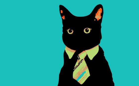кот, tie, минимализм, смотрит, business, cats,