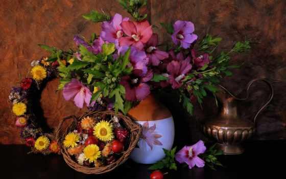 cvety, натюрморт, ваза, кувшин, flora, цветами, мальва, корзина, gif,