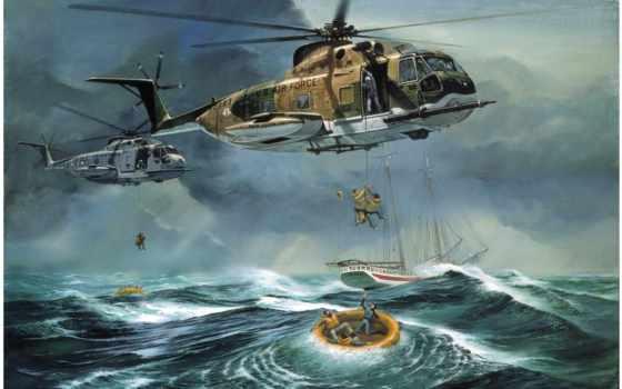 спасение, помощью, вертолета