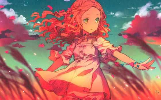 anime, ветер, девушка
