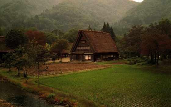 деревня, japanese, природа, лес, горы, японская, трава, японии, кабина, landscape, hill,