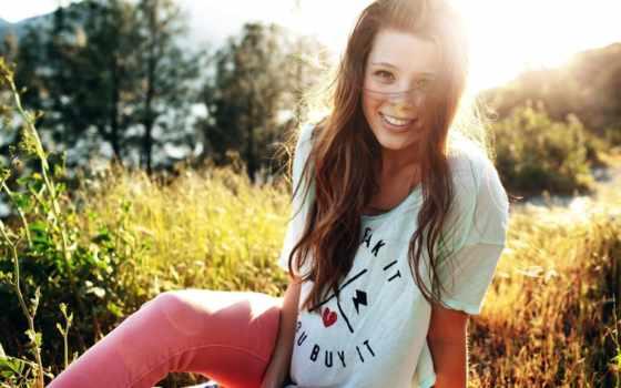 улыбка, девушка, android, настроения, взгляд, коллекциях, summer, улыбкой, траве, яndex, brunette,