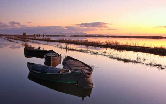 landscape, природа, река, лодка, дерево, закат, natural, sun