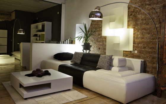 room, интерьер, диван и бра