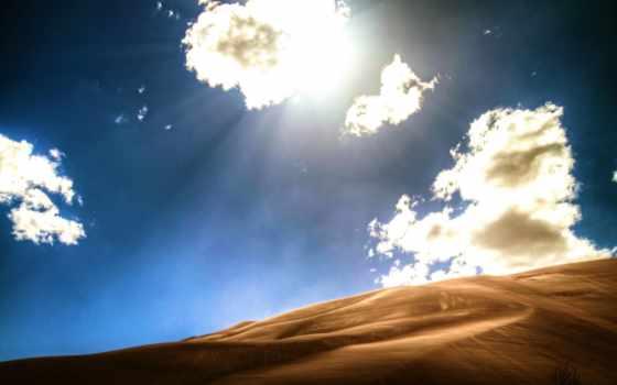 небо, пустыня, links, барханы, песок, oblaka, свет, картинка,