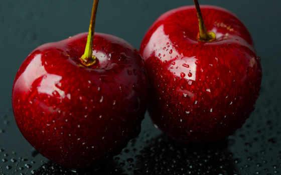 ягоды, макро, water, черешни, капли, фрукты,