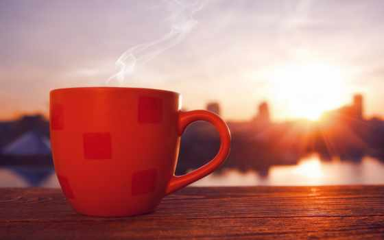 coffee, утро, cup, восход, взгляд, люблю, город,