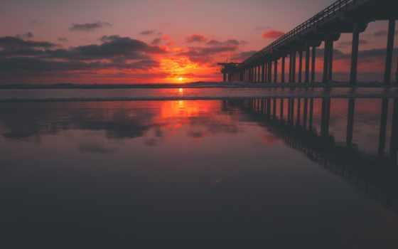 сол, закат, море, pier, pôr, небо, céu, vermelho