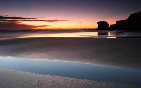 закат, красивый, shallow, песчаный, пляж, marine, девушка, time, вечер