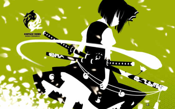 konpaku, youmu, samurai, anime, other, sword, girl, similar, hair, tags, green, grief,