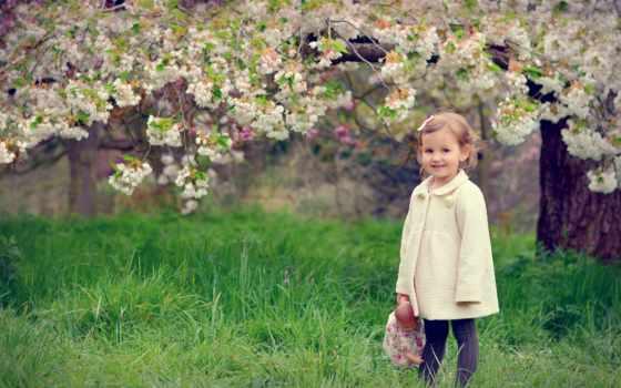дети, настроение, цветы