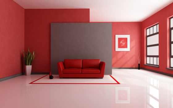 ,диван, красная комната, комната, белый пол,