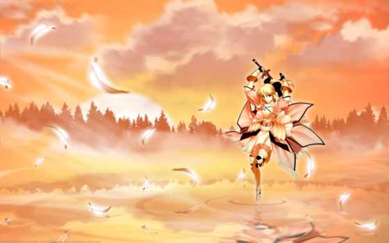 anime, девушка, лес, меч, закат, широкоформатные,