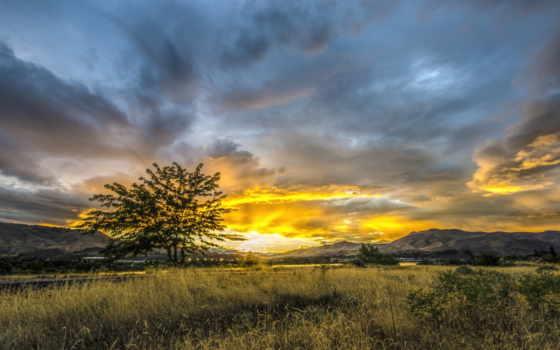 закат, sun, небо, трава, город, дерево, горы, долина, солнца,