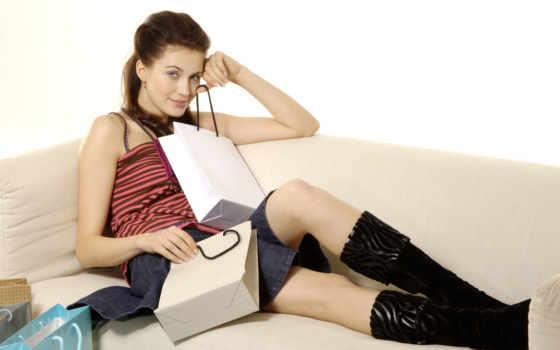 девушка, клипарт, диване, сидит, растровый, shopping, шоппинга, хозяйственные, devushki,