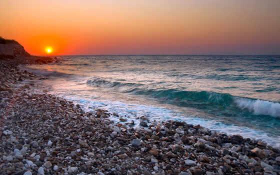 море, широкоформатные, закат, небо, берег, диск, sun, камни, красивые, rising,