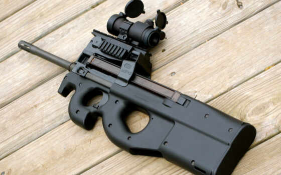 оружие, ПП, FN P90, оптический прицел, планка пикатинни, глушитель, древесина