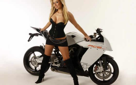 девушка, мотоцикл, мото