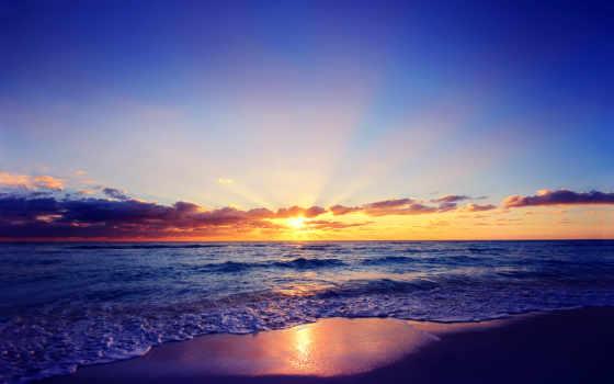 море, закат, тучи