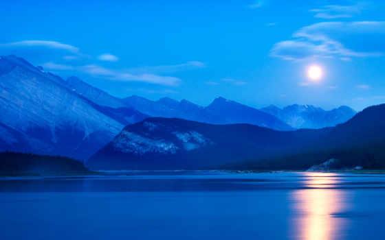 природа, озеро, ночь, луна, горное, favourite,