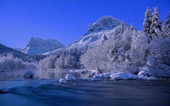 природа, река, winter, горы, красивые, норвегия, norwegian, landscape, снег,