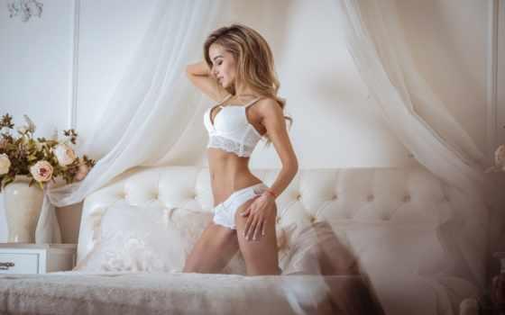 lingerie, белое белье, секси белье, блондинка