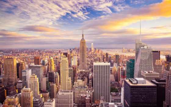 нью, york, рассвет, мегаполис, небоскребы, города, дома, bay, new, небо,