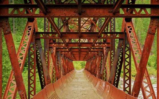 мост, art, print, стрелок, down, iron, truss, стена, north, плакат