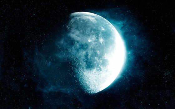 луна, космос, растворимая, темнота, звезды, смотрите,