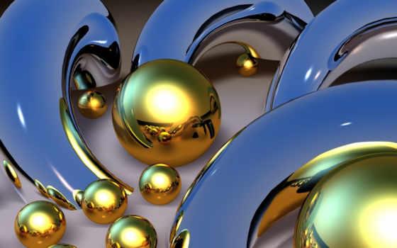 сфера, золотая, шар, шары, абстракции,