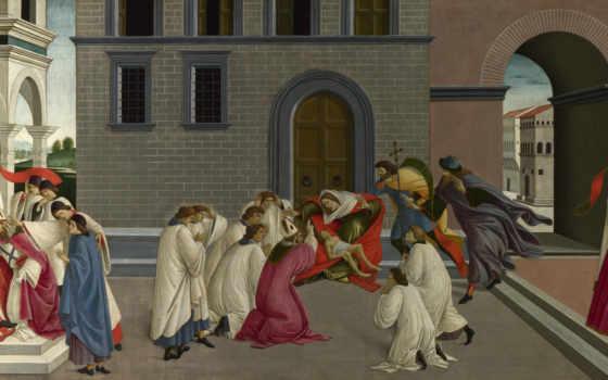 боттичелли, сандро, сцены, зиновия, жизни, святого, три, dee, чуда, botticelli,