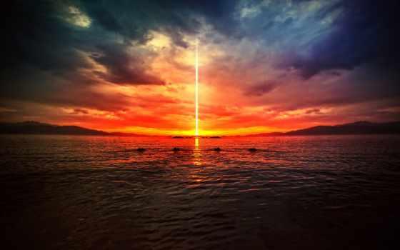 закат, море, рисунки, природа, пейзажи -, небо, ray, большие,