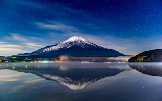 звезды, вулкан, гора, небо, landscape, фудзи, elguerriero, japanese,