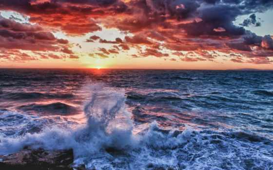 ocean, waves, закат, peaceful, пляж, mobdecor, animated, взгляд,